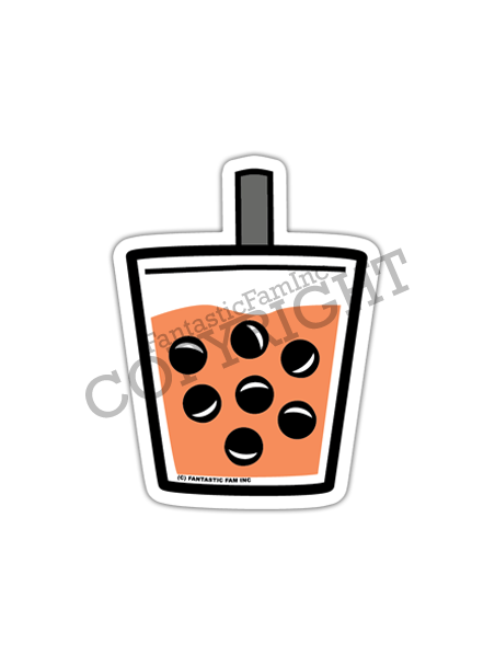 Thai Tea Boba Vinyl Sticker