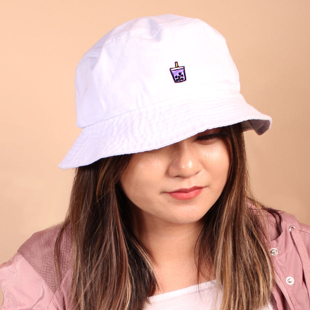 Ube Boba Bucket Hat - White