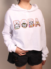 Boba Party -  Women's Cropped Fleece Hoodie - White