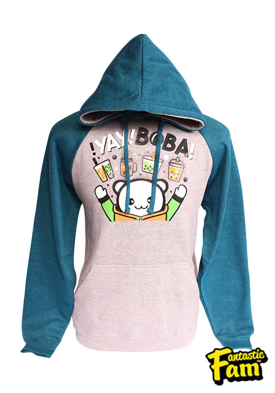 Yay Boba! Unisex Hoodie - Teal/Gray