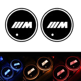 2Pcs LED Car Logo Cup Holder Pads 7 Colors Changing USB Charging Mats Bottle Coasters Car Atmosphere Lamps home cup pad