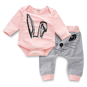 459672fcd087c Toddler Easter Clothes Infant Baby Girl Bunny Print Long Sleeve Romper +  Sweatsuit Pants Boy Spring