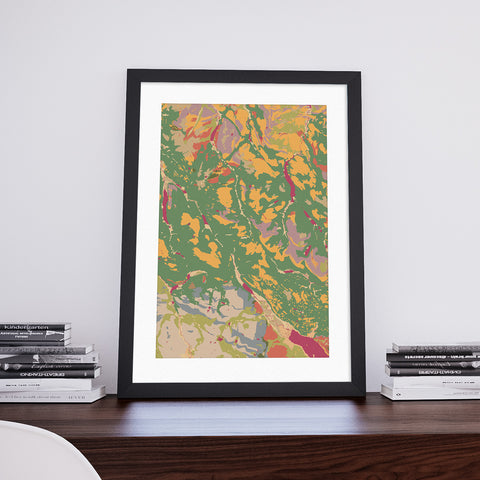 Monar: Decorative Geological Map Art Print by Art Maps
