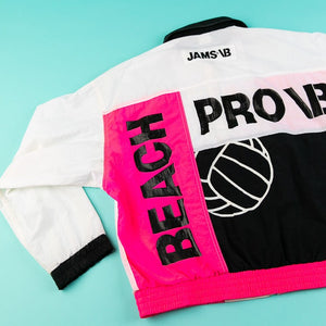 Vintage 80's Jams World Beach Pro VB Windbreaker (Neon pink/White/Black) from retro candy vintage