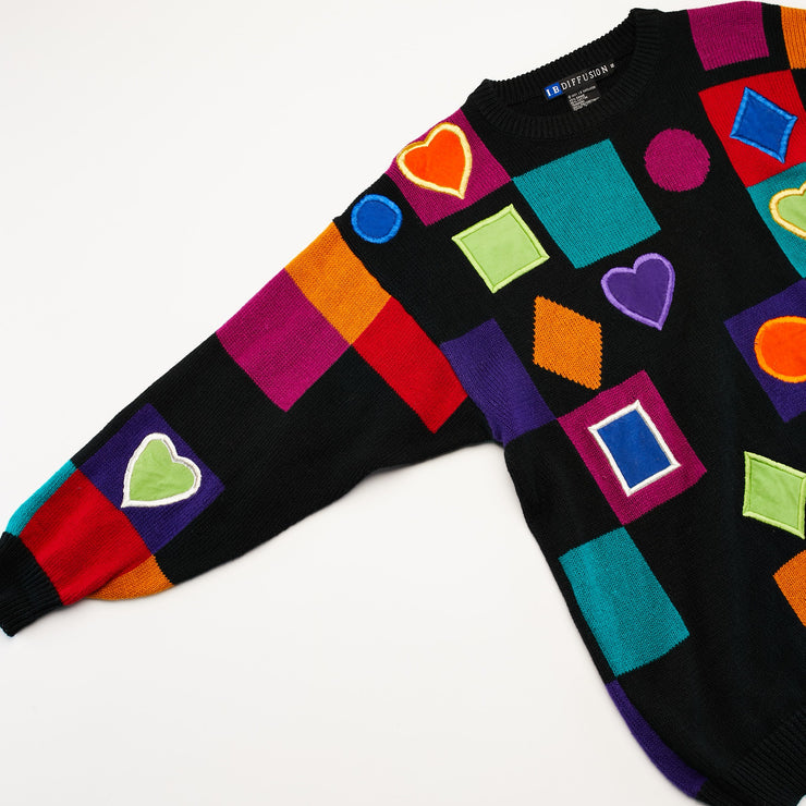 Vintage 1991 I.B. Diffusion Oversized Knit Sweater retro shapes from Retro Candy