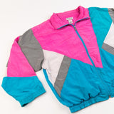 Vintage 80's Lavon Windbreaker (Baby blue/Pink/White/Black stripes) from retro candy vintage cotton candy color block