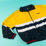 Rare Vintage 90's Fubu Windbreaker (Yellow/Navy/White/Red) from retro candy vintage
