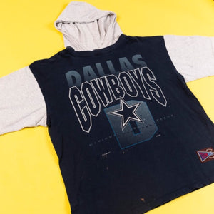 Vintage 1992 Dallas Cowboys Hooded Jersey T-shirt Jostens sportswear from retro candy