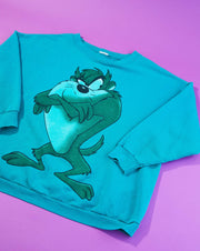 Vintage 90s Tasmanian Devil Looney Tunes Active Wear Crew Neck Sweater