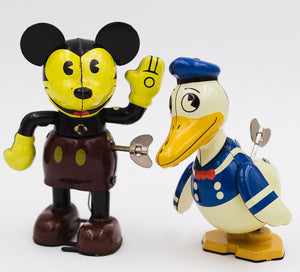 Vintage Mickey Mouse and Donald Duck Tin Wind Up Toys by Young Epoch retro toy collection