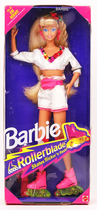 Vintage 1991 Rollerblade Barbie Doll skaes flicker n' flash Mattel