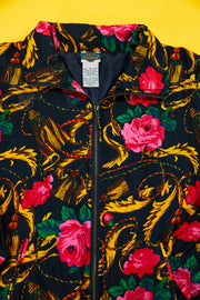 90s Out Brook Flower Print Silk Jacket