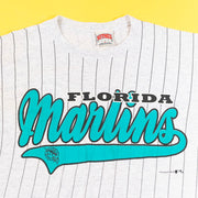 Vintage 90's Florida Marlins Pin Striped T-shirt from retro candy