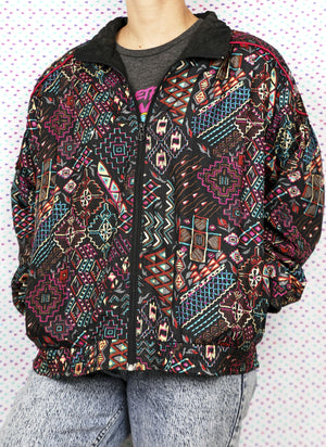 Vintage 1980s 80's Lavon Windbreaker Jacket Brown Pink Green Retro Candy