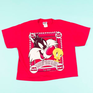 Vintage 1995 Looney Tunes Blues Crop Top tweety bird and Sylvester cat from retro candy