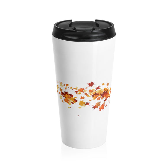 Autumn Leaves (Wrap Around) Stainless Steel Travel Mug