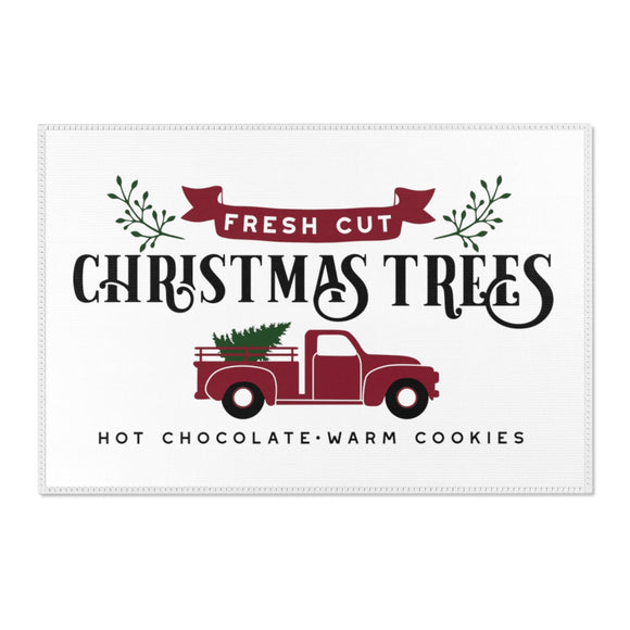 Christmas Tree Truck Area Rug