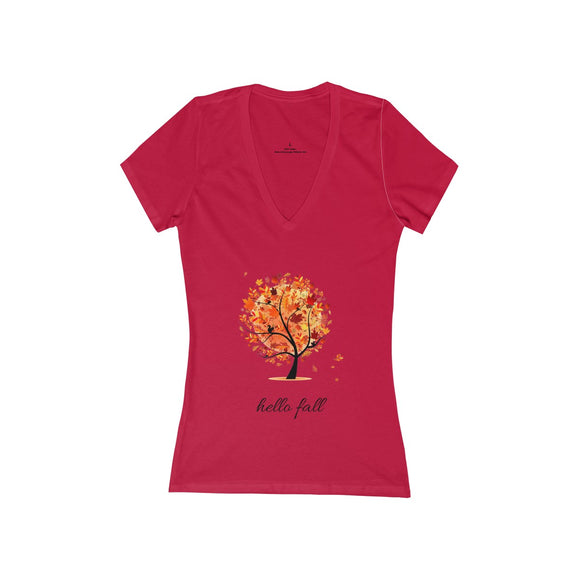Hello Fall (Women's Jersey Short Sleeve Deep V-Neck Tee)