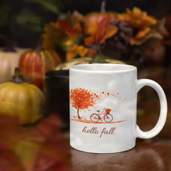 Hello Fall Bicycle Mug 11oz