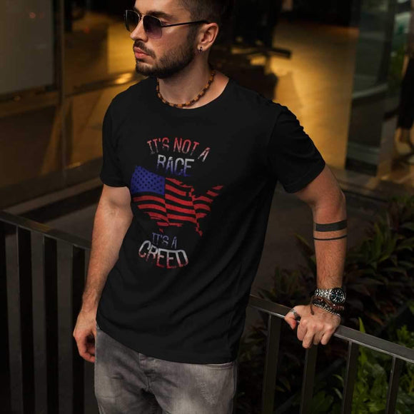 It's Not A Race It's A Creed T-Shirt Tee Patriotic Mandolorian