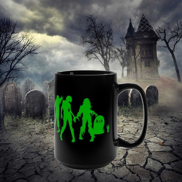Green Zombies Halloween mug 15 oz cup
