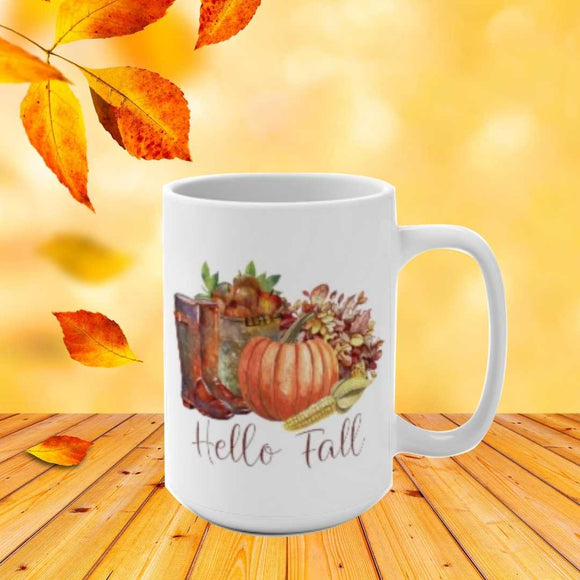 Hello Fall pumpkin corn apples leaves boots 15 oz mug