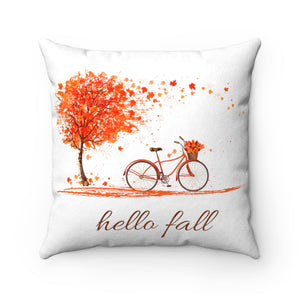 Hello Fall Bicycle Faux Suede Square Pillow