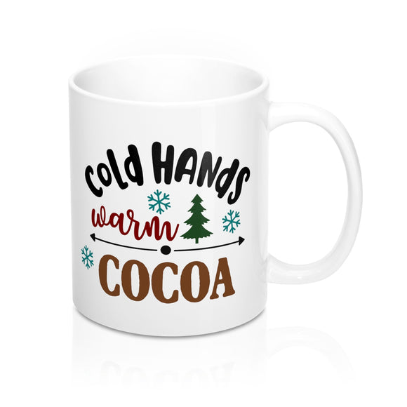 cold hand warm cocoa mug