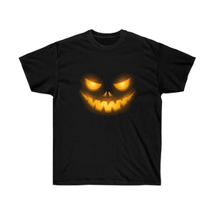 Creepy Face Halloween Jack O' Lantern Adult Tee