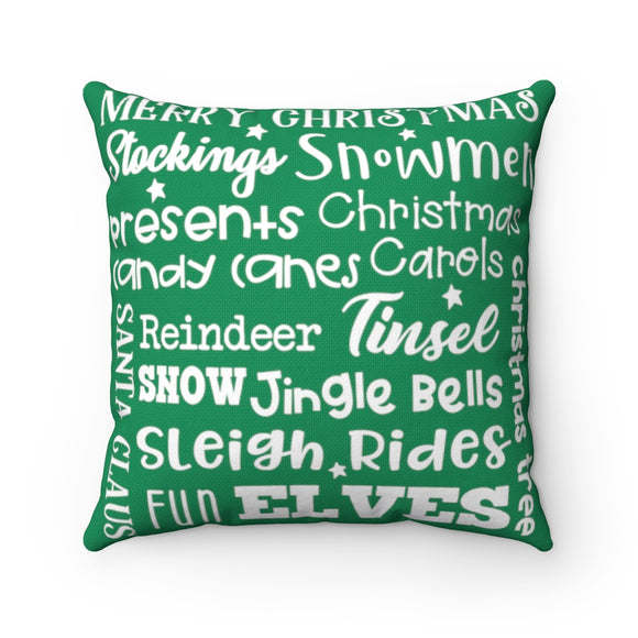 Christmas Collage Pillow (Green)