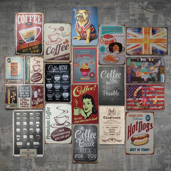 Vintage Retro Cafe Coffee Shop Diner Metal Wall Signs