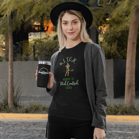 Woman in total control witch w.i.t.c.h. Halloween t-shirt tee