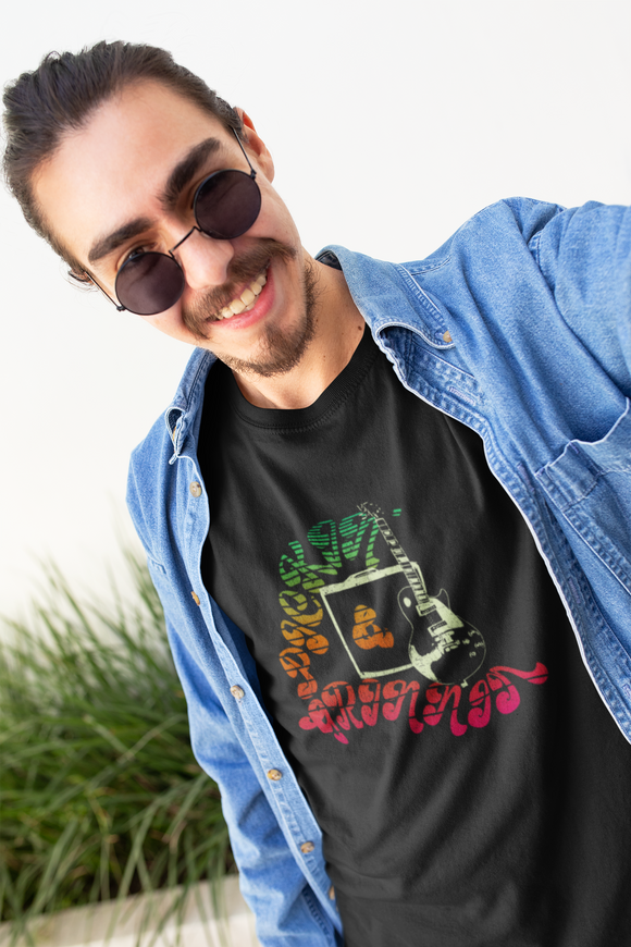 retro guitar t-shirt pickin' & grinnin'