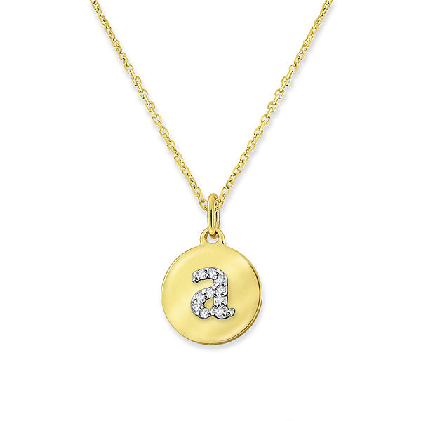 "KC Designs Diamond Mini Disc Initial ""A"" Necklace in 14k Yellow Gold with 10 Diamonds weighing .04ct tw."
