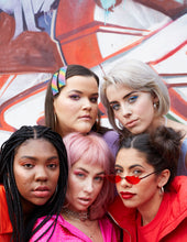Load image into Gallery viewer, Katie wears Purple Reign, Xanthe wears Evil Eye, Tabita wears Hot Summer, Fei wears Pink Wink and Fallon wears Cherry Bomb