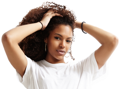Black woman with curly hair weaves