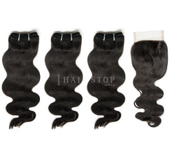Mink Brazilian Body Wave Virgin Hair 3 Bundles With Lace Closure