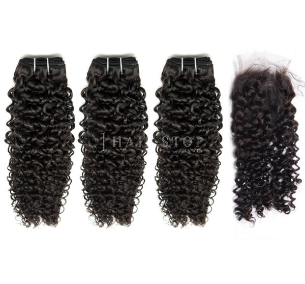 Mink Brazilian Curl 2 Virgin Hair 3 Bundles With Lace Closure