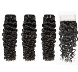 Mink Brazilian Curly Virgin Hair 3 Bundles With Lace Closure