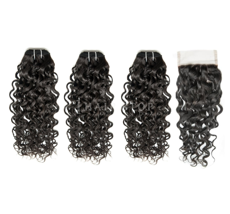 Mink Brazilian Loose Curl Virgin Hair 3 Bundles With Lace Closure