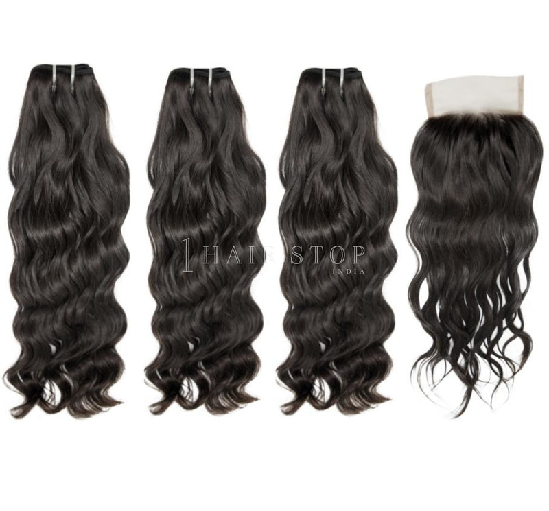 Mink Brazilian Wavy Virgin Hair 3 Bundles With Lace Closure