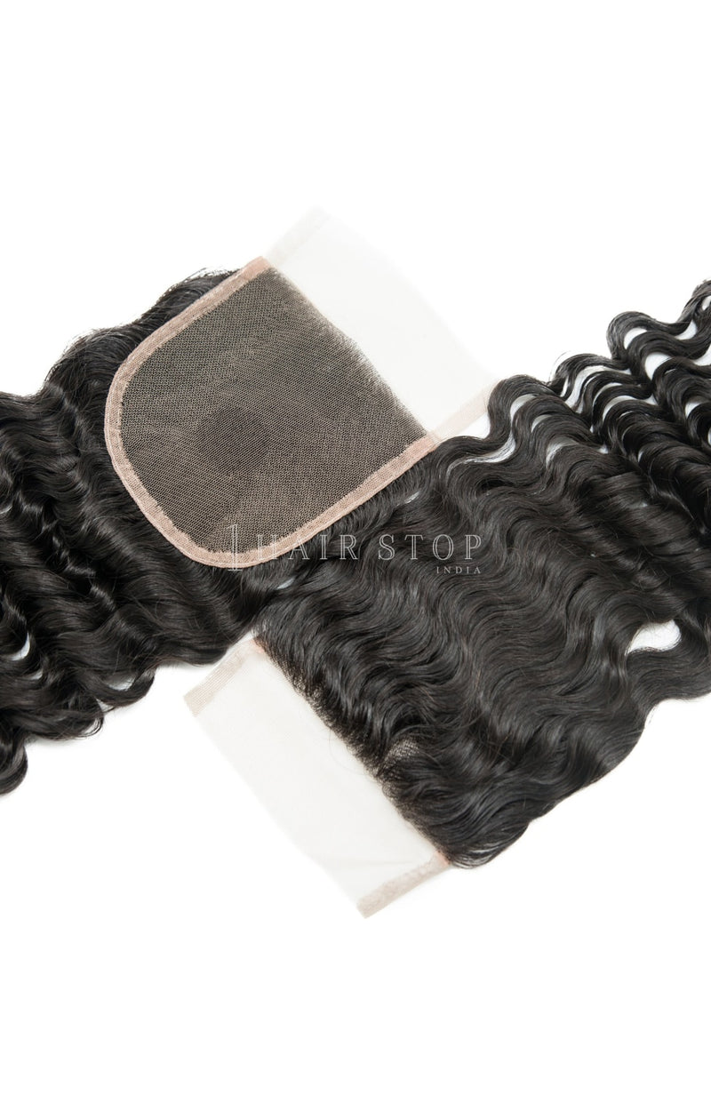 Mink Brazilian Deep Wave Virgin Hair 3 Bundles With Lace Closure