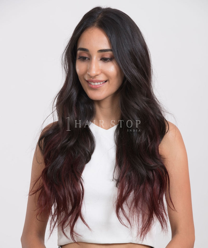 Invisi Clip-In Extensions Straight Ombré Black To Red Clip-In