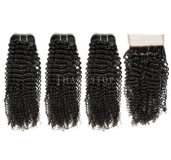 Mink Brazilian Jerry Curl Virgin Hair 3 Bundles With Lace Closure