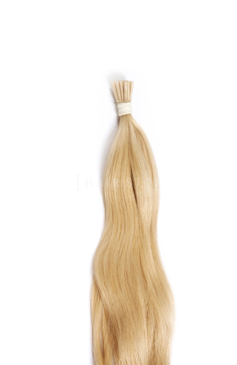 Blonde keratin extensions
