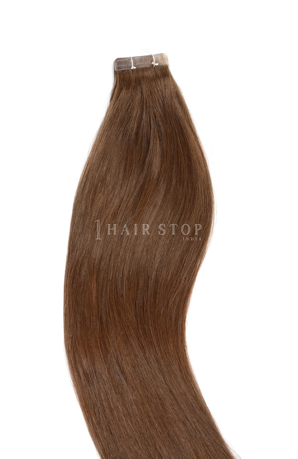 Bronzed brown tape in human hair extensions