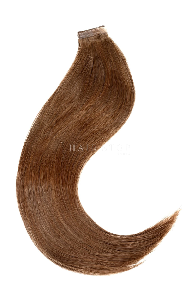 Brown tape in human hair extensions