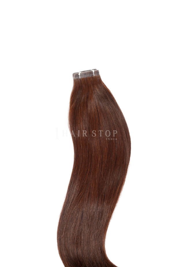 Chocolate brown tape in hair extensions
