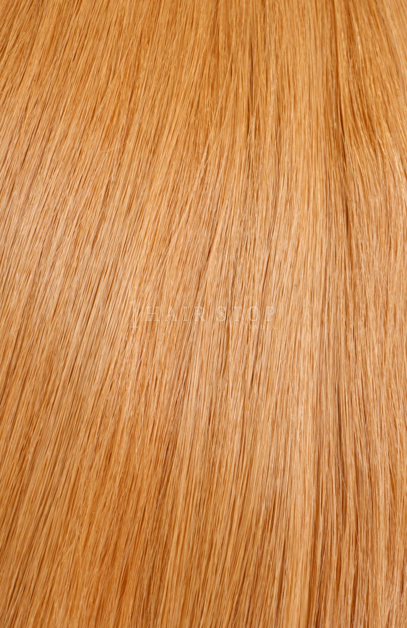 Orange Human Hair Tape in Extensions Straight