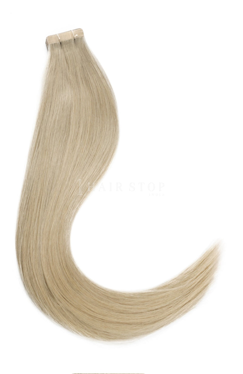 Silver human hair tape in extensions
